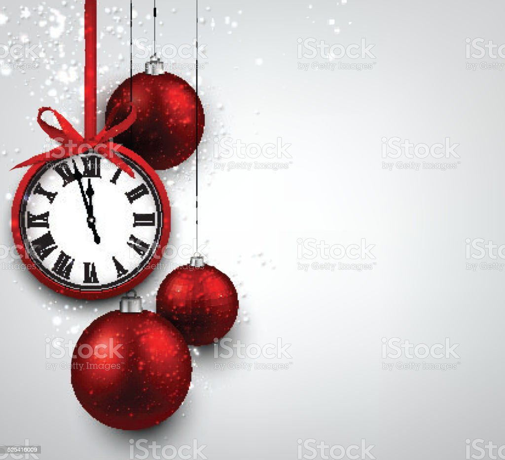 New year background with red christmas balls. vector art illustration