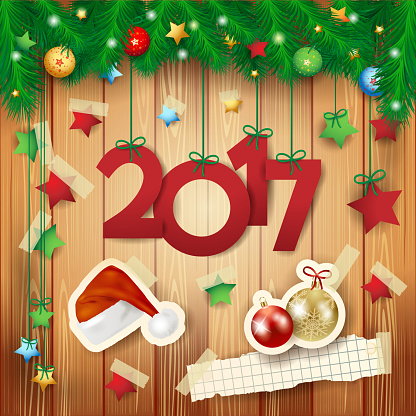 New Year background with text and paper elements