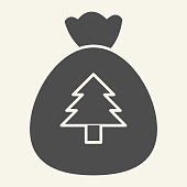 New Year bag solid icon. Santa Christmas bag with firtree glyph style pictogram on white background. Traditional gift sack for presents for mobile concept and web design. Vector graphics