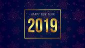 New year banner 2019 dark background
