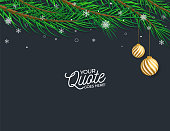 New Year banner concept for advertising, banners, leaflets and flyers. Pine tree branches. Vector illustration.