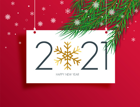2021 New Year banner concept for advertising, banners, leaflets and flyers. Pine tree branches. Vector illustration.