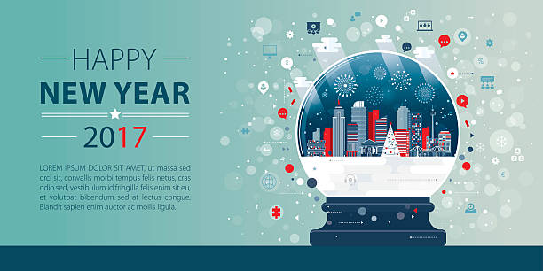 new year banner depicting webinar - firmenweihnachtsfeier stock-grafiken, -clipart, -cartoons und -symbole