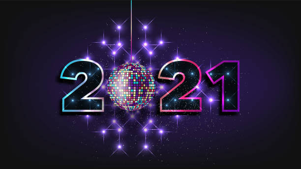 2021 New Year banner, festive vector illustration. Magic neon lights on black background, stardust, sparkling poster in luxury style. Happy new year greetings, holiday celebration. Magic neon lights on black background, stardust, sparkling poster in luxury style. Happy new year greetings, holiday celebration. 2021 New Year banner, festive vector illustration. new years day stock illustrations