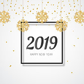 2019 New year banner. Hanging golden glitter snowflakes. Vector illustration