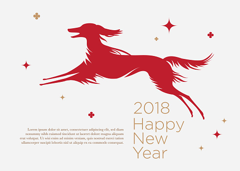 New Year banner template or greeting card with dog and text greeting. The dog is a symbol of 2018.