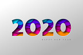 2020 New Year banner. Paper cut numbers with 3d bright colors wavy shapes. Minimal cover design. Template for Christmas flyers, greeting cards, brochures. Vector.