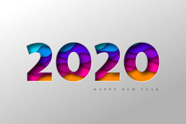 ilustraciones, imágenes clip art, dibujos animados e iconos de stock de bandera de año nuevo 2020. - calendario abstracto
