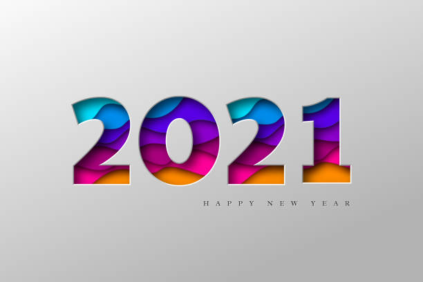 2021 New Year banner. 2021 New Year banner. Paper cut numbers with 3d bright colors wavy shapes. Minimal cover design. Template for Christmas flyers, greeting cards, brochures. Vector. 2021 stock illustrations