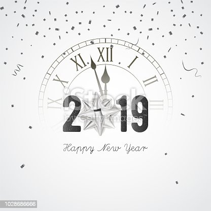 2019 new year banner with clock gift bow and confetti vector stock vector art more images of 2018 1028686666 istock
