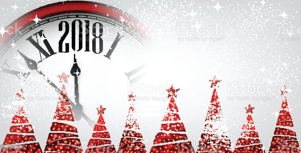 2018 new year banner with clock royalty free 2018 new year banner with clock