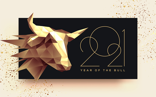 2021 new year banner with golden low poly head of the bull. Year of the Bull. Vector illustration