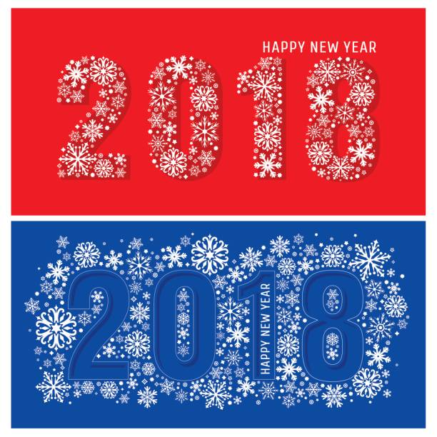 2018 new year banners with snowflakes vector art illustration