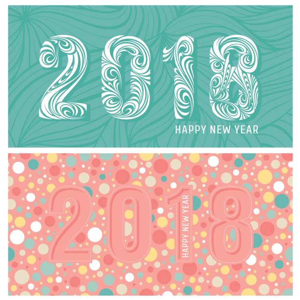 2018 new year banners with stylized numbers vector art illustration