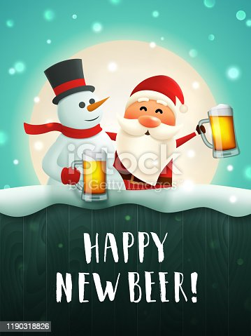 istock New year beer greeting card 1190318826