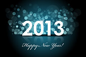 New year blue background with snow