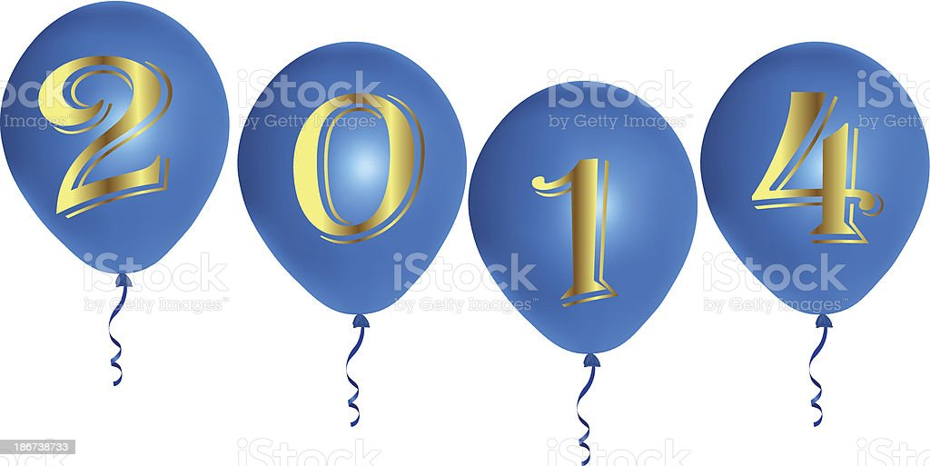 New Year blue balloons royalty-free stock vector art