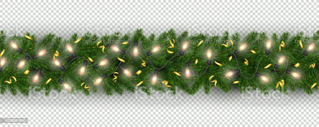 new year border of realistic branches of christmas tree garland light bulbs royalty free