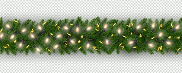 New Year border of realistic branches of Christmas tree, garland light bulbs Christmas and New Year border of realistic branches of Christmas tree, garland, serpentine Element for festive design isolated on transparent background Vector holiday lights stock illustrations