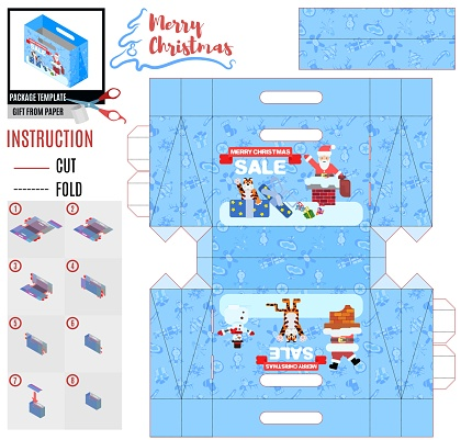 new year box template with tiger and santa claus