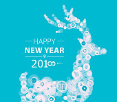 New Year greeting depicting business.