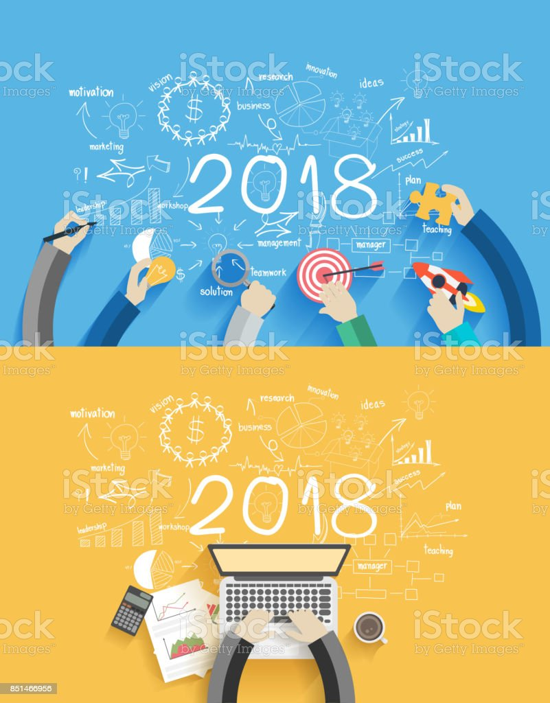 2018 new year business success working on laptop computer, Flat design concepts for drawing analysis and planning, consulting, team work, project management, brainstorming, research and development vector art illustration
