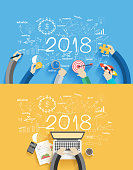 2018 new year business success working on laptop computer, Flat design concepts for drawing analysis and planning, consulting, team work, project management, brainstorming, research and development