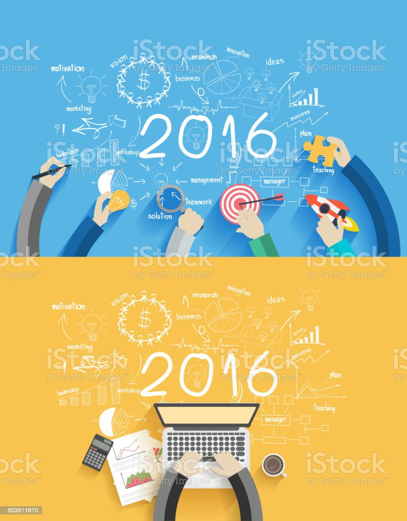 2016 new year business success working on laptop computer vector art illustration