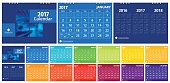 """2017 calendar set include 12 months front cover and back cover (3 years 2016 2017 2018). Desk calendar corporate design layout template vector week start on Monday. Size 8""""x 6"""" horizontal EPS-10."""