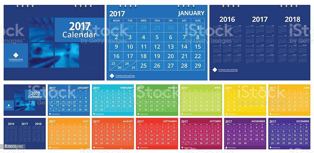 New year calendar 2017 set include twelve months modern design vector art illustration