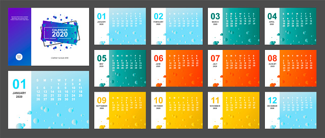 2020 new year calendar page color blue, green, orange, yellow gradient colorful and A5 size diary desktop. Week Start Sunday. Business day and month planner template. Vector mock up illustration