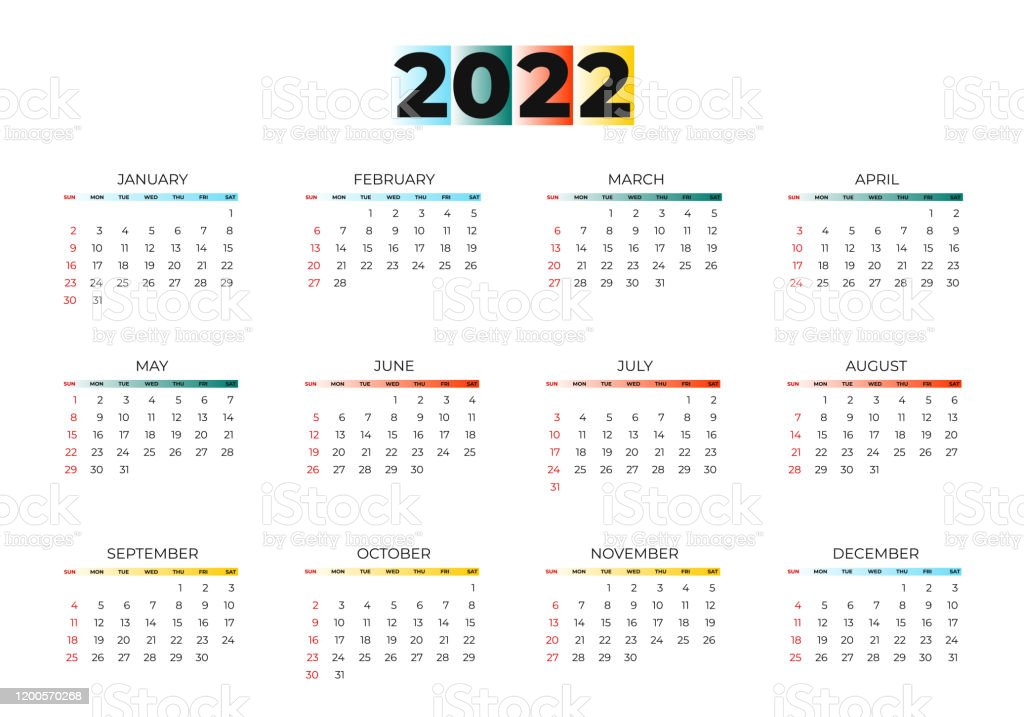Day Of Year Calendar 2022.2022 New Year Calendar Page Color Blue Green Orange Yellow Gradient Colorful Diary Desktop Week Start Sunday Business Day And Month Planner Template On White Vector Mock Up Illustration Stock Illustration