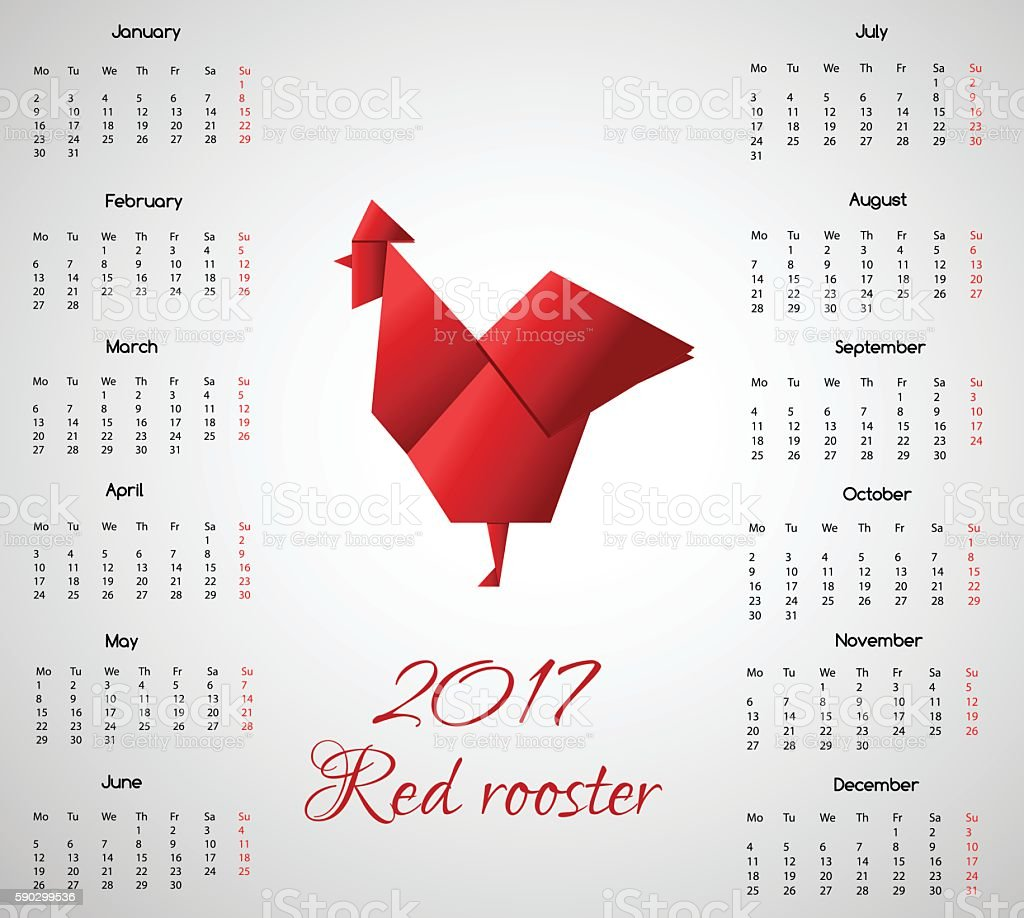 New year calendar with chinese symbol Red Rooster in Origami royaltyfri new year calendar with chinese symbol red rooster in origami-vektorgrafik och fler bilder på 2017