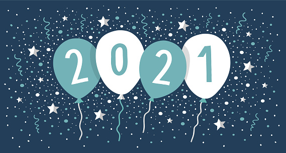new year card 2021 with balloons and confetti