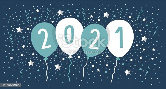 istock new year card 2021 with balloons and confetti 1276435520