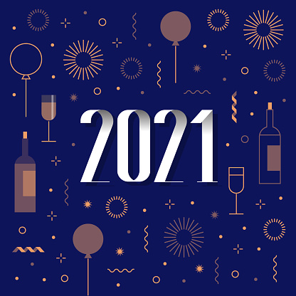 new year card 2021 with fireworks, confetti, ballons