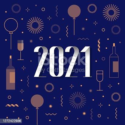 istock new year card 2021 with fireworks, confetti, ballons 1272422936
