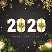 Happy New Year greeting card, 3d 2020 number sign with gold gift box ribbon. Confetti, bauble ornaments and pine tree leaf on black background.