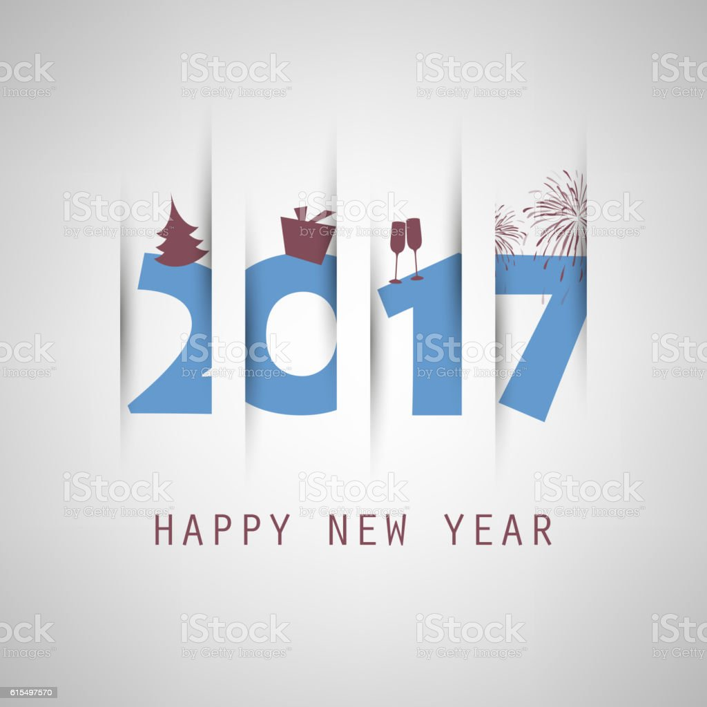 New Year Card Background - 2017 vector art illustration