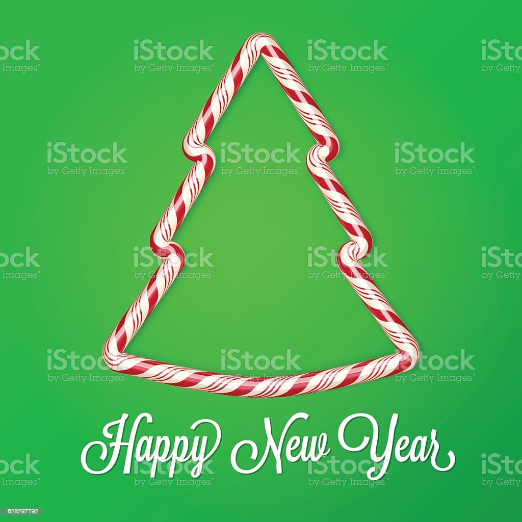 2017 New year card. Candy cane effect, Christmas tree vector art illustration