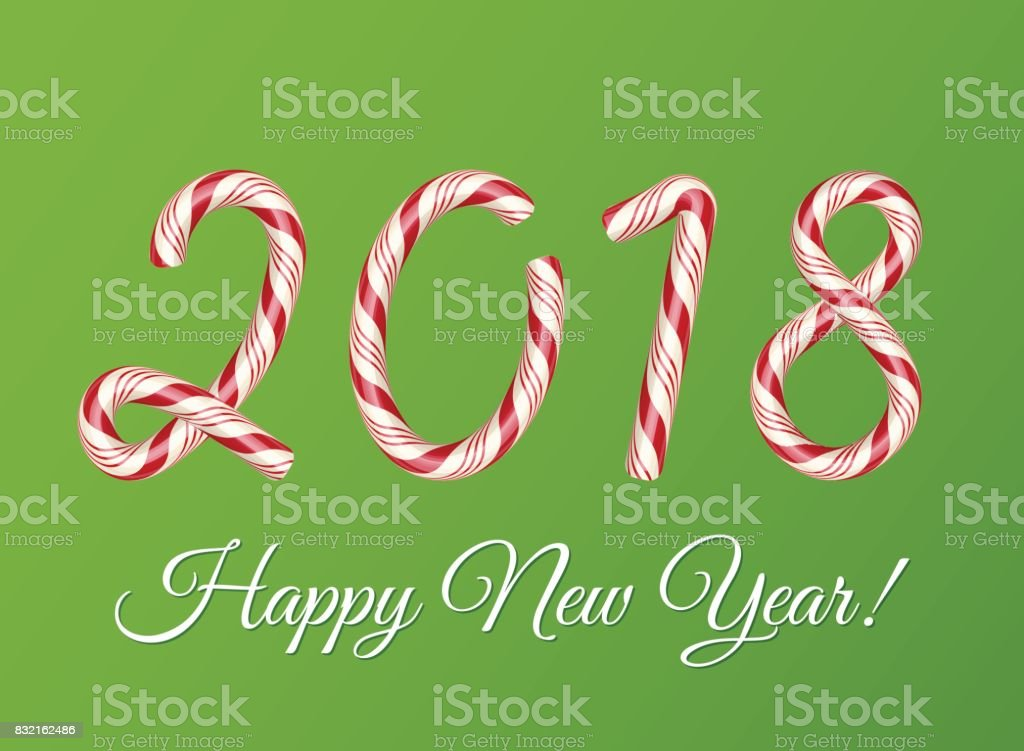 2018 New year card. Christmas Candy cane text effect. Creative colorful lettering. Striped sugar digits. Holiday vector illustration on a green background. Flyer, poster template for celebration vector art illustration