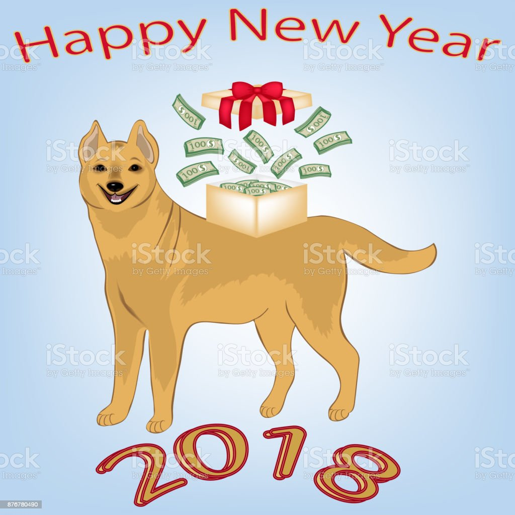 Neujahrskarte Weihnachten Das Symbol Der Neuen 2018 Gelben Hund ...