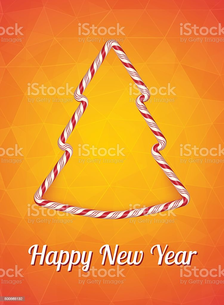 New year card, Christmas tree on a bright orange background. vector art illustration