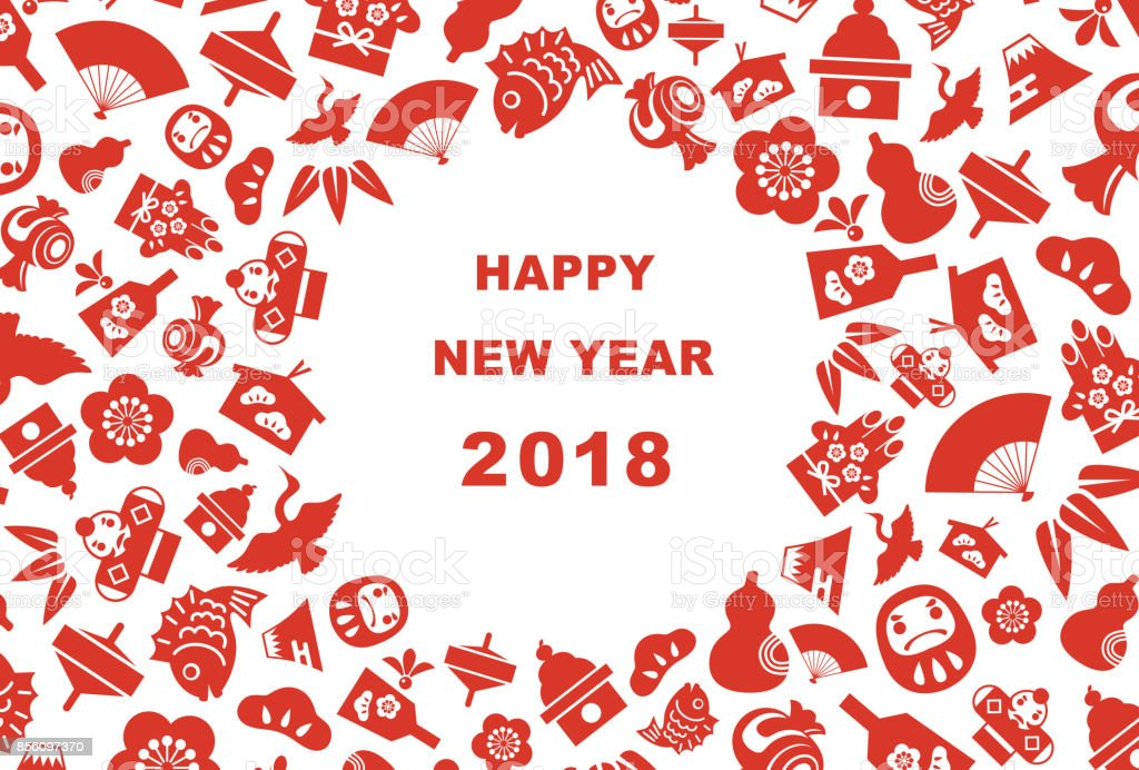 New Year card for year 2018 good luck elements vector art illustration