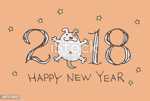 new year card for year 2018 with cartoon dog stock vector art more images of 2018 687379522 istock
