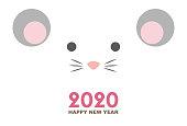 2020年のネズミの年の年カード