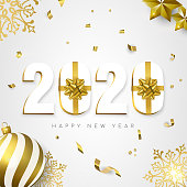 Happy New Year greeting card, 3d 2020 number sign with gold gift box ribbon. Confetti, bauble ornaments and snowflakes on white background.