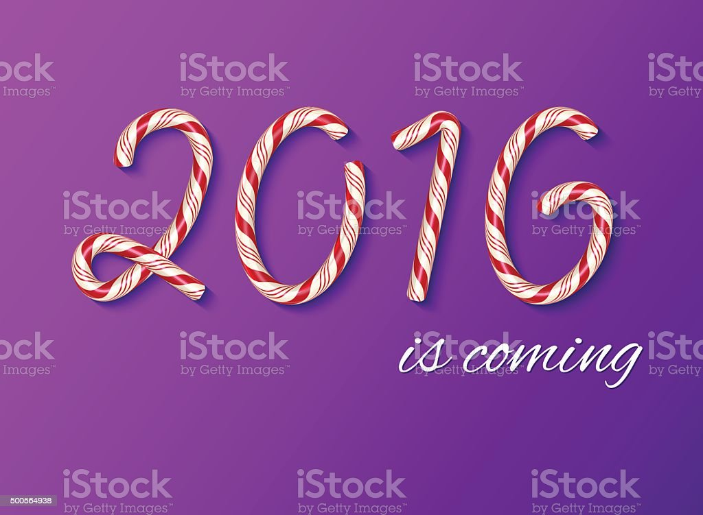 2016 New year card, Happy new year. Christmas Candy text. vector art illustration