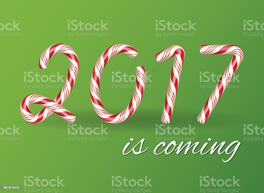 2017 New year card, Happy new year. Christmas Candy text. vector art illustration
