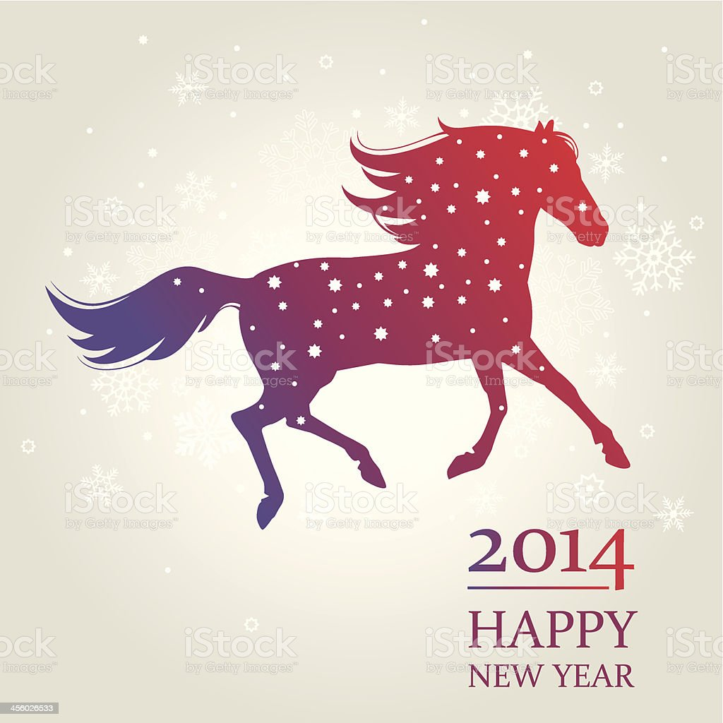 New Year card horse, Symbol of 2014